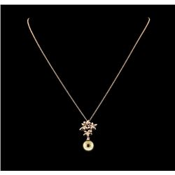 Pearl and Diamond Pendant With Chain - 14KT Rose Gold