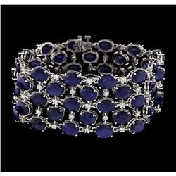 93.96 ctw Sapphire and Diamond Bracelet - 14KT White Gold