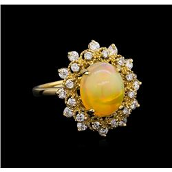 2.15 ctw Opal and Diamond Ring - 14KT Yellow Gold