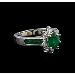 1.25 ctw Emerald and Diamond Ring - 14KT White Gold