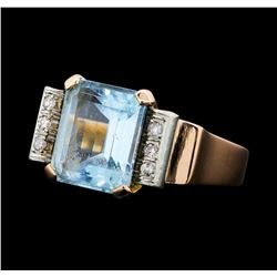 5.00 ctw Aquamarine and Diamond Ring - 14KT Yellow Gold with Rose Plating