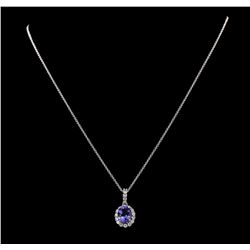 2.37 ctw Tanzanite and Diamond Pendant With Chain - 14KT White Gold