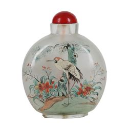 """Large, Vintage Chinese Reverse Painted Snuff Bottle """"Birds & Flowers"""""""