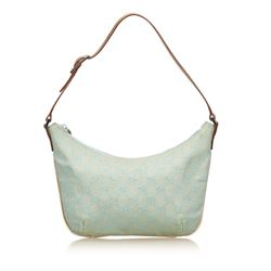 Gucci Blue Green Canvas Brown Leather Jacquard Shoulder Bag
