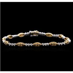 14KT Two-Tone Gold 1.56 ctw Diamond Bracelet
