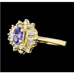 0.35 ctw Tanzanite and Diamond Ring - 14KT Yellow Gold