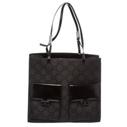 Gucci Black Canvas Leather Monogram Double Pocket Shoulder Bag