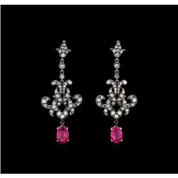 2.29 ctw Ruby and Diamond Earrings - 18KT Two-Tone Gold