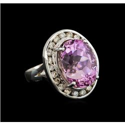 14KT White Gold 16.20 ctw Kunzite and Diamond Ring