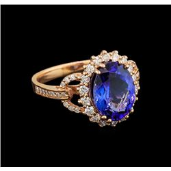 14KT Rose Gold 4.13 ctw Tanzanite and Diamond Ring