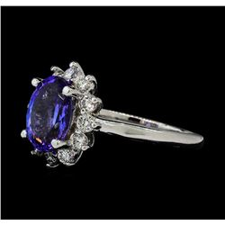 2.63 ctw Tanzanite and Diamond Ring - 14KT White Gold
