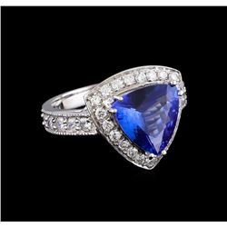 3.26 ctw Tanzanite and Diamond Ring - 14KT White Gold