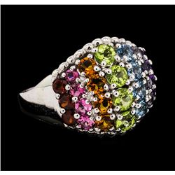 2.53 ctw Multi-color Gemstone Ring - 14KT White Gold