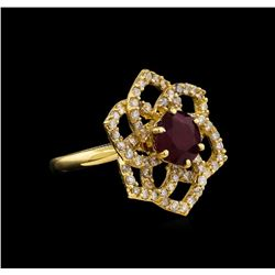 14KT Yellow Gold 3.11 ctw Ruby and Diamond Ring