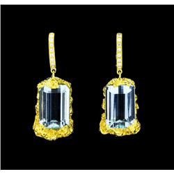 18.00 ctw Aquamarine And Diamond Earrings - 18KT Yellow Gold