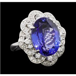 11.95 ctw Tanzanite and Diamond Ring - Platinum