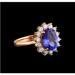 14KT Rose Gold 2.06 ctw Tanzanite and Diamond Ring