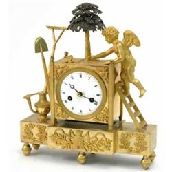 A 19th century French ormolu mantel clock, cast with a cherub gardener, a rake, a shovel and a wa...