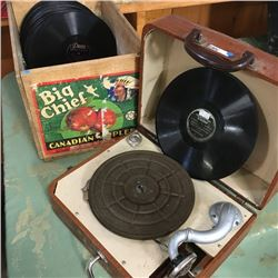 LOT16: Phonograph w/Crate Lot of Albums