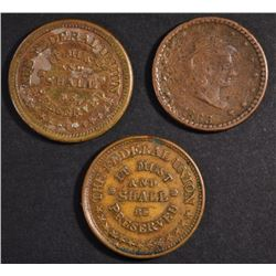 (3) CIVIL WAR TOKENS