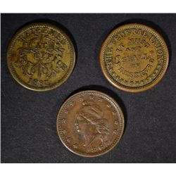 3 CIVIL WAR TOKENS: AVERAGE CIRC