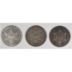 3-CENT SILVERS: ALL VF, 1852, 1859 & 1862