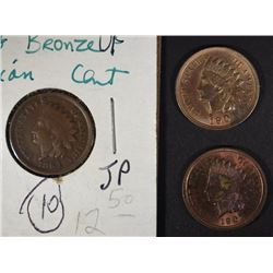 1864 BRONZE VF, 1901 UNC & 07 CH BU INDIAN CENTS