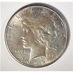 1928 PEACE SILVER DOLLAR, BU  KEY COIN