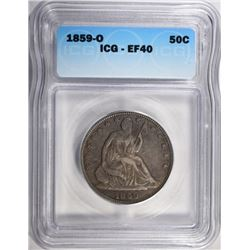 1859-O SEATED LIBERTY HALF ICG EF-40