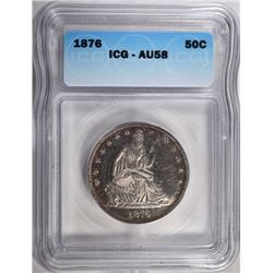 1876 SEATED LIBERTY HALF ICG AU-58