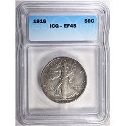 1916 WALKING LIBERTY HALF ICG EF-45