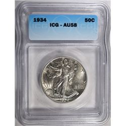1934 WALKING LIBERTY HALF ICG AU-58