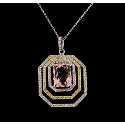 1.95 ctw Morganite and Diamond Pendant With Chain - 14KT White Gold