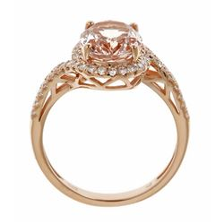 2.09 ctw Morganite and Diamond Ring - 14KT Rose Gold