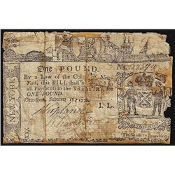 February 16, 1771 New York 1 Pound Colonial Currency Note