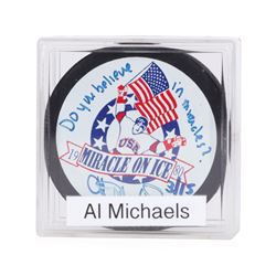 """Al Michaels signed 1980 """"Miracle on Ice"""" Puck - XIII Olympic Winter Games Lake P"""