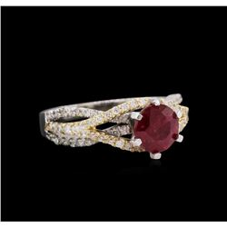 1.73 ctw Ruby and Diamond Ring - 14KT Two-Tone Gold