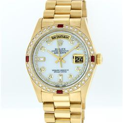 Rolex 18KT Gold Diamond and Ruby Day-Date Men's Watch