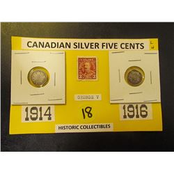 Canadian Silver Five Cents 1914 + 1916