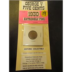 1930 George V Five Cents-Extremely Fine Condition