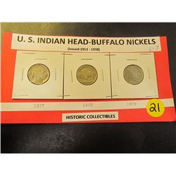 U.S. Indian Head -Buffalo 5 cent-1927,1928,1929