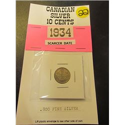 1934 Candian George V .800 Fine Silver ten cents-Scarcer Date