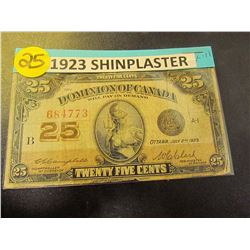 1923 Canadian Shinplaster-25cents  Bank Note