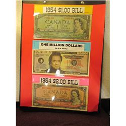 1954-$1.00, John Cash One Million and 1954 $2.00