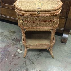 "Early 1900's Sewing Basket Stand-Rope Wicker 27"" T 18"" W"