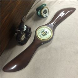 "23"" Propeller Barometer, Horse Thermometer and Travel Alarm Clock"