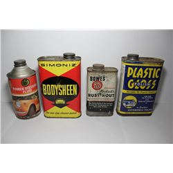 Collection of tins with some of their contents (Bowes seal fast radiator rust-rout; plastic gloss au