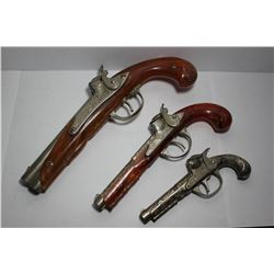 Set of 3 Hubley flint lock cap guns