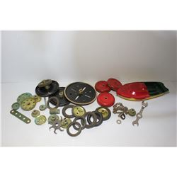Bag miscellaneous wheels, wrench and tin toy boat (stamped A1 555)