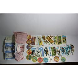 Collection of Jello wheels, red rose tea cards, Nabob and red rose coupons